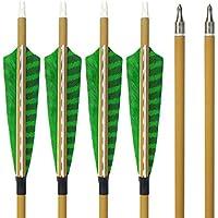 SHARROW 6pcs Flechas de Carbono 30 Pulgadas Spine 500 con Plumas de Pavo para Arco Compuesto Recurvo Flechas de Caza (6)