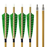 SHARROW 12pcs Carbonpfeile 30 Zoll mit Naturfedern Carbon Pfeile für Bogen Kohlenstoff Pfeil mit Truthahnfeder Spine 500 Bogenpfeile für Compound und Recurvebogen(12)