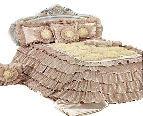 Tache Home Fashion Tache 6Stück Floral Solid Zimt Chai beige Kräuselband Tröster Set -