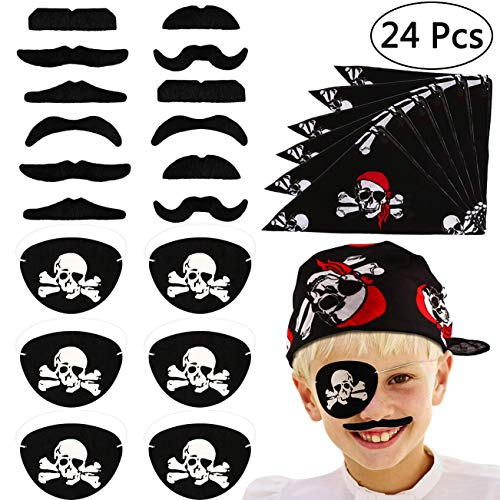 (Tacobear 24pcs Piraten Zubehör Set Kinder Piratenkapitän Augenklappe Piraten Bandana Kopftuch Falsche Schnurrbärte Kinder für Karneval, Halloween und Partys)