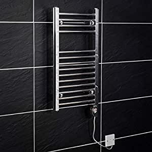 WarmeHaus Electric Thermostatic Bathroom Heated Towel Rail Radiator 700 x 400 mm 150 W Chrome