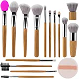 Make Up Brushes ALLFY 15Pcs Bamboo Handle Makeup Brushes Premium Synthetic Soft Artificial