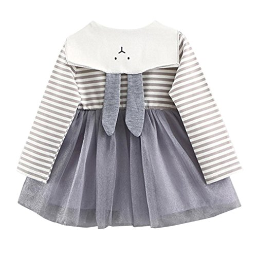 Hirolan 0-3 Jahre alt Kinderkleidung Herbst Baby Kinder Kleinkind Mädchen Streifen Mesh die Röcke Neugeborene Kleidung Niedlich Hase Prinzessin Kleid Festliche Babymode (70, Grau)