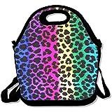 Il pranzo motivo leopardato grandi e spessi neoprene lunch Bags lunch Tote Bags Cooler calda calda borsa con tracolla per le donne teenager ragazze bambini adulti