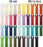 39 Cerniere lampo, 22 cm, multicolore