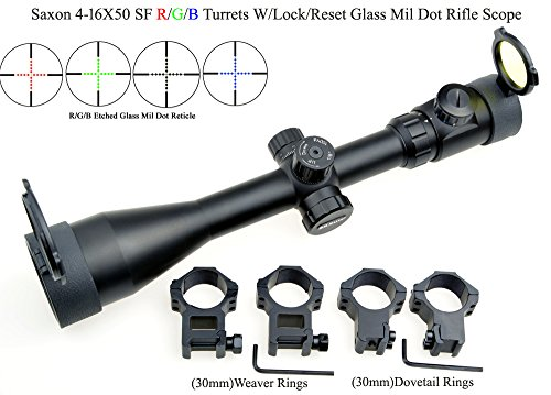 Eagle Eye, Saxon Rifle Scope 4-16x50 SF (30mm) Vert Bleu Rouge illuminé a9080f0f61e2