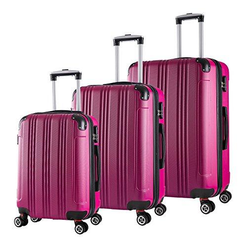 WOLTU RK4208pk, Reise Koffer Trolley Hartschale Volumen erweiterbar, Reisekoffer Hartschalenkoffer 4 Rollen, M/L / XL/Set, leicht und günstig, Pink 3er Set (M+L+XL)