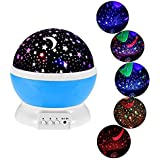 Stvin Baby Sleeping Rotating Sky Moon Star LED Projector Night Light Projection Lamp With USB Cable