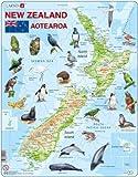 Larsen Puzzle A4 - Neuseeland - physische Karte