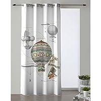 Cortina Modelo Mundo, Estampado globo, Medida 140x260cm.