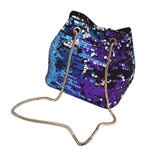 Moonuy,Frauen Bling Bag, Mädchen Fashion Schultertasche Weibliche Bling Pailletten Beuteltasche Hasp Open PU Sattel Messenger Bags Klappe für Frauen (Blau)