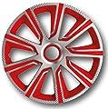Radzierblenden Radkappen Radabdeckung #VERON Carbon/ Silber/ Rot