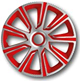 Radzierblenden Radkappen Radabdeckung #VERON Carbon/ Silber/ Rot (13' zoll)