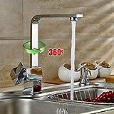 Auralum Grifería de cocina Grifo Cromo con Manguera para Fregadero Cocina,Monomando Fregadero Caño Giratorio