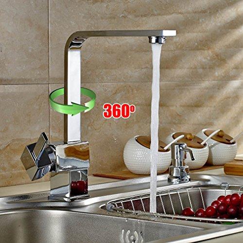 Auralum® Armatur Einhebel Wasserhahn Waschtischarmatur Wasserfall Waschbecken Bad Küche - 2