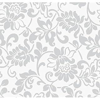Klebefolie Möbelfolie Ornamente Silber Grau 45 cm x 200 cm Dekorfolie Barock