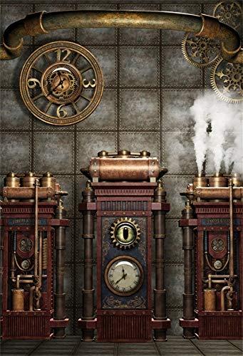 YongFoto 1x1,5m Vinyl Foto Hintergrund Antiquität Jahrgang Steampunk Gear Metalluhr Fotografie Hintergrund Backdrop Fotostudio Hintergründe Requisiten