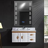 700 x 500 mm Rectangular Illuminated LED Bathroom Mirror with Sensor + Shaver Socket + Demister Pad