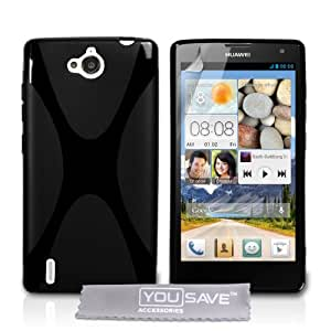 Yousave Accessories Coque Huawei Ascend G740 Etui Noir Silicone Gel X-Ligne Housse