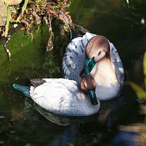 Sungmor Outdoor Simulation Schwimmende Long-Tailed Duck Pond Pool Steingarten Ornamente | 2 Pack (Groß + Klein), Premium Resin | Klare Tierstatuen-dekorative Aquarium-Fisch-Teich-Brunnen-Skulptur -