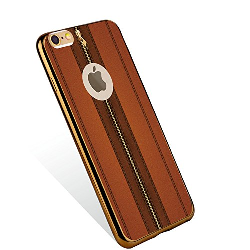 iPhone 7 Back Custodia, Casefashion Ultra-Thin Soft TPU Pelle Case con Metal Frame [Drop Protection] [Shock Resistant] Cover per iPhone 7 , Leather Pattern 4
