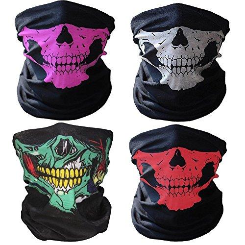 remium Sturm Maske Totenkopf Skull Maske Multifunktionstuch Schlauch Nahtlos Schädel Sturmmaske Ghost für Motorrad Fahrrad Ski Paintball Gamer Karneval Kostüm (Zwei-gesicht Halloween-kostüme)