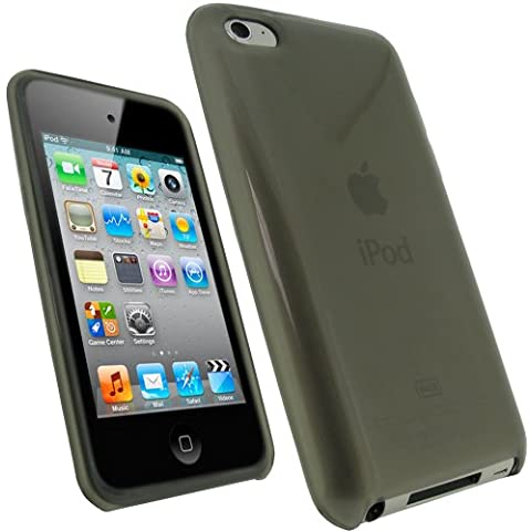 igadgitz Negro Case TPU Gel Funda Cover Carcasa para Apple iPod Touch 4ª Gen + Pantalla Protector