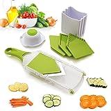 Mandolina compacta de cocina para cortar alimentos con cuchilla en V – corta y trocea frutas, verduras y queso de manera fina, uniforme y rápida