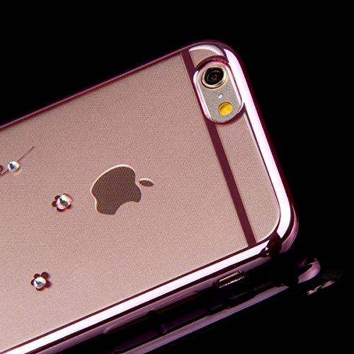 Custodia iPhone 6S Plus,Custodia iPhone 6 Plus,Custodia Cover per iPhone 6 / 6S Plus, ikasus® Placcatura in oro rosa Lucido di cristallo di scintillio strass Diamante Glitter Plating Rose Golden iPhon Rosa Plum Blossom Fiore