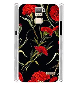 Red Flowers Soft Silicon Rubberized Back Case Cover for Oppo R7 Plus