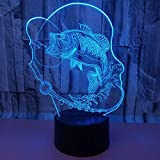 Best Easy Smart Touch Gift For A Boyfriends - HYHXYD Fishing Carp 3D Night Light Touch Table Review