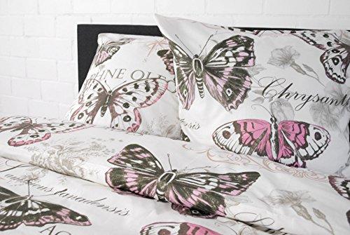 405e054566 jilda-tex Bettwäsche 100% Baumwolle Design Vintage Butterfly Rose 135x200 cm  mit Reißverschluss Bettbezug
