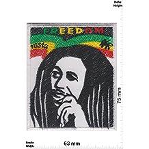 Parches - Bob MARLEY - Freedom - Rasta - Reggae - Musicpatch - Rock - Vest - Iron on Patch - Parche Termoadhesivos Bordado Apliques - Patch - Give Away Regalar