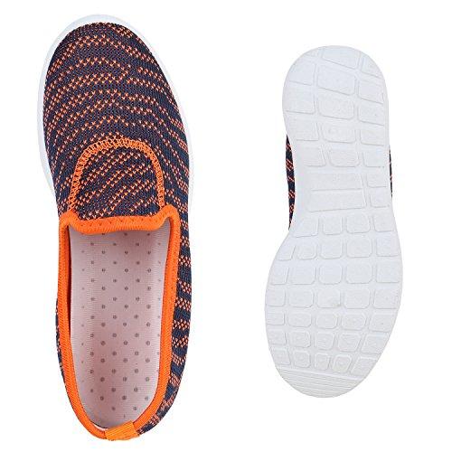 Damen Slip-ons Lightweight Slipper Sportschuhe Profilsohle Orange Dunkelblau