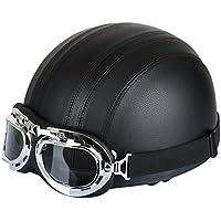 256753af1fa35 FREESOO Casco Abierto Protección para Motocicleta Scooter Bicicleta 54-60cm  Ajustable con Visera UV Gafas
