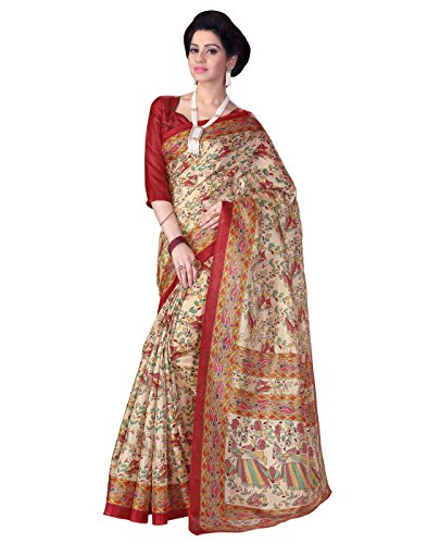 Paroma Art Women\'s Cotton Silk Saree With Blouse Piece (Beige)