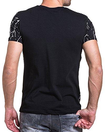 BLZ jeans - T-Shirt gesteppt schwarzer Mann Grafik-Druck Schwarz