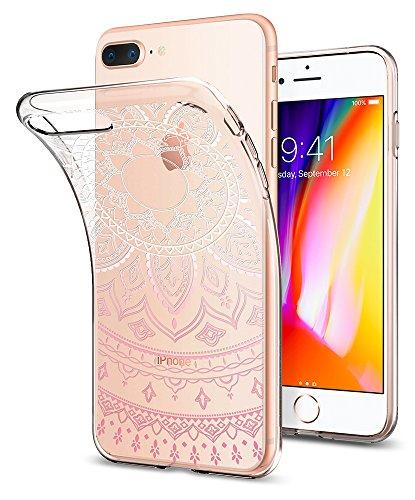 iPhone 7 PLUS Hülle, Spigen® [Liquid Crystal] Indische-Sonne Muster [Shine Clear] Soft-Flex Bumper-Style Premium-TPU Silikon Handyhülle / Passgenaues Tranparent Traumfänger Mandala-Design Motiv Schutz LC Shine Pink