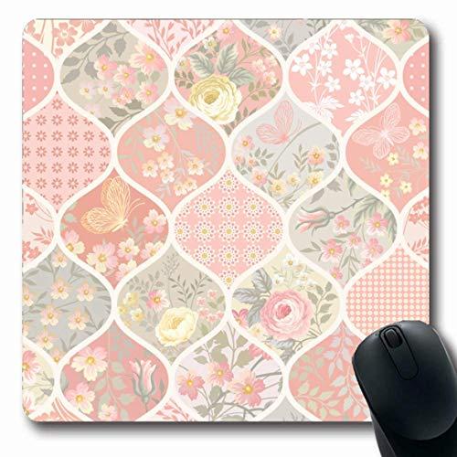 Luancrop Mousepads Quilt Pink Patchwork-Muster Blumen Schmetterlinge Abstrakt Kreis Frühling Pastell Blumen Sommer Weiß rutschfeste Gaming-Mausunterlage Gummi Längliche Matte -