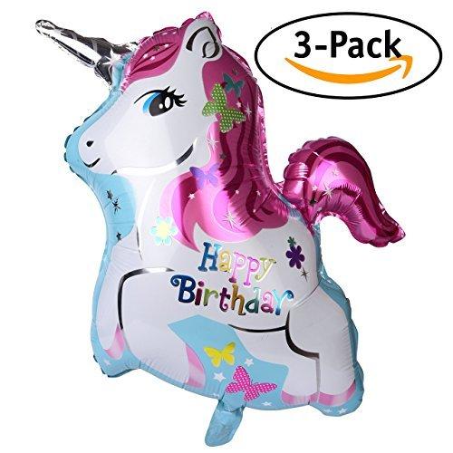 f589225c95f Hello Squishy Globos De Feliz Cumpleaños Del Unicornio (Paquete De 3)