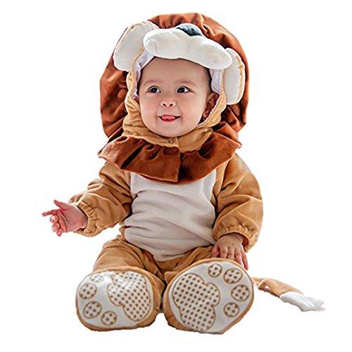 Tier Kostüm Hooded Bodysuit Footies Spielanzug Onesie Outfit (Größe: 90CM, Löwe) (Halloween-baby Onesies)