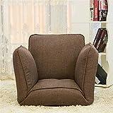 XXFFH Folding canapé paresseux A personne, Chaises de sol, chaise d'ordinateur, Lit simple pliant, Tissu de lin Brun Multifonction Trois côtés au réglage d'angle aléatoire, Nettoyage amovible, Confortable et sain, Appl