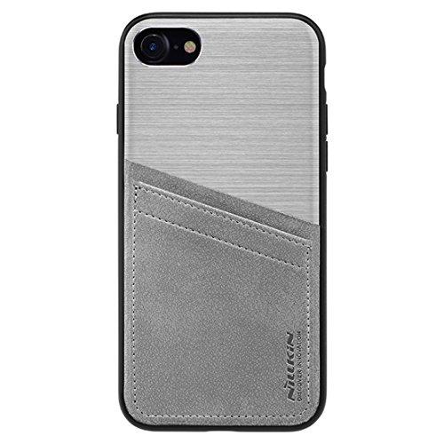 Mobiltelefonhülle - NILLKIN Classy Case für iPhone 7 Business Style gebürstete Textur Aluminiumlegierung Krokodil Textur PU Skin PC Schutzhülle mit TPU Frame & Card Slots ( Farbe : Gold ) Silber