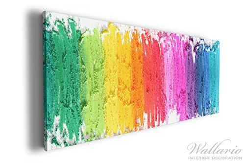 Wallario XXXL Riesen- Leinwandbild Regenbogenstreifen auf weißem Hintergrund - Bunter Anstrich - 80...