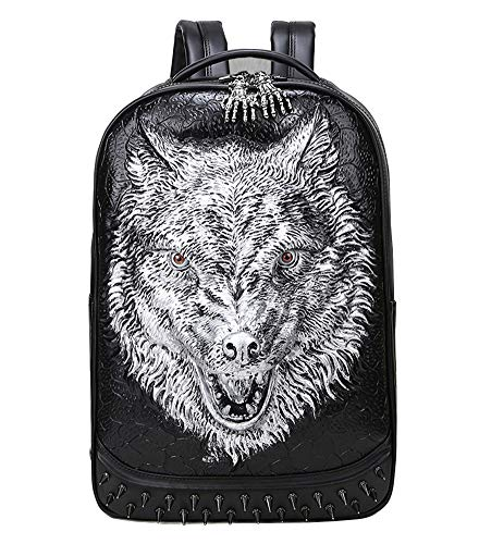 LIEOAG Herrenrucksack College Rucksasck Genietete Computertasche Persönlichkeit Reise 3D Fierce Wolf Head Daypack-White-Onesize (Video-kompressions-software)