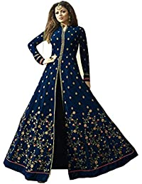 AnK Women's Blue Georgette Embroidered Semi-Stitched Long Anarkali Salwar Suit
