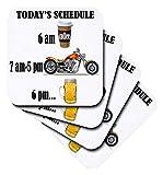 3drose Kaffee, Motorrad, Bier. Funny Motorräder Spruch.–Soft Untersetzer, Set von 8(CST _ 220705_ 2)