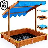 Deuba Sand Pit Kids 120cm Wooden Box Height Adjustable Roof UV Protection Tarpaulin Sandbox