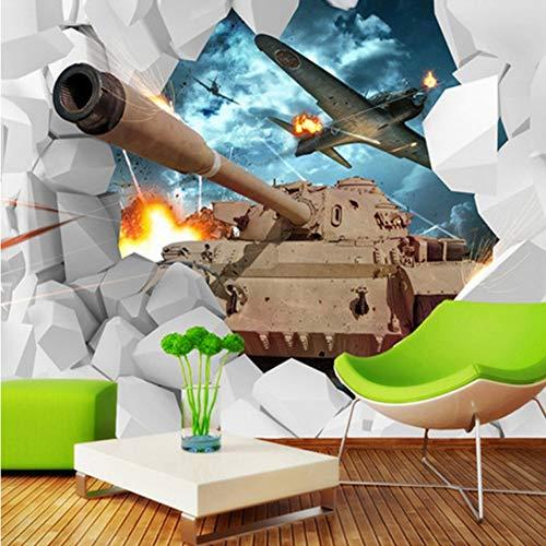 VVNASD 3D Dekorationen Tapete Wand Aufkleber Wandbilder Panzer Militärischen Kreativen Persönlichkeit Flugzeug Hintergrund Kulisse Kunst Mädchen Tv (W) 400X(H) 280Cm