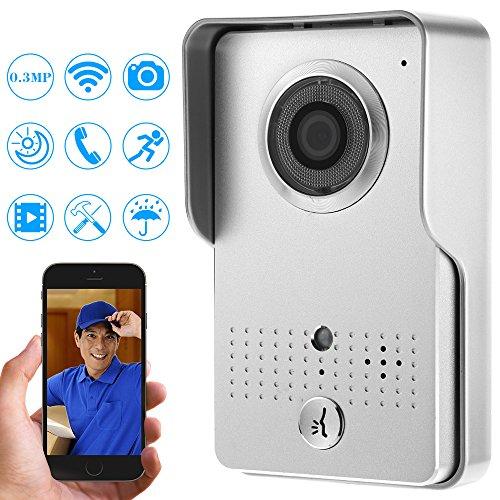 KKmoon Doorbell Wifi Video Door Phone; 0.3MP Wireless Visual Intercom Doorbell support Record Snapshot Unlock Lock Time Delay HotspotvNight View Rainproof PIR ; Motion Detection; Tamper Alarm